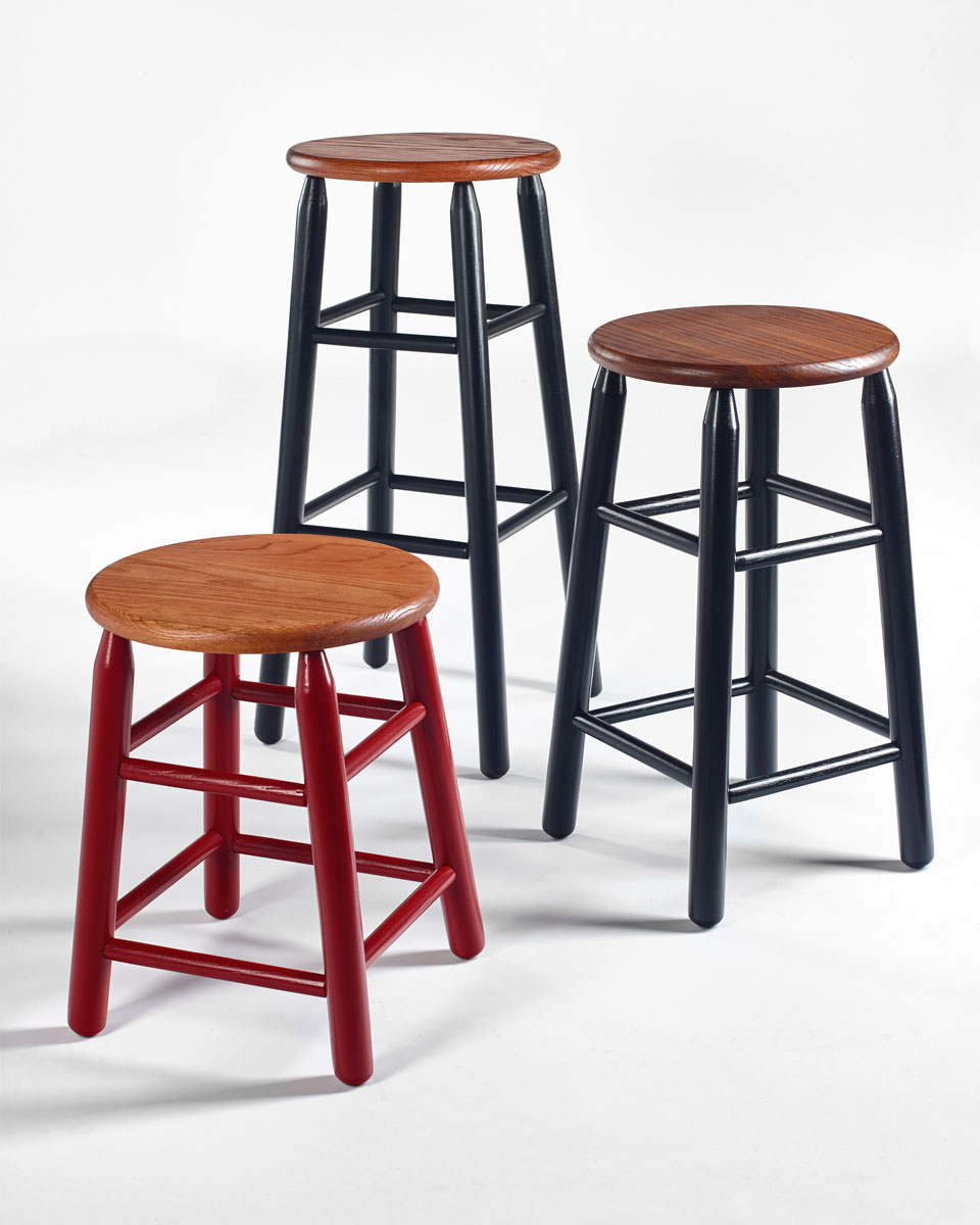 "18"", 24"", and 30"" Round Top Stools"