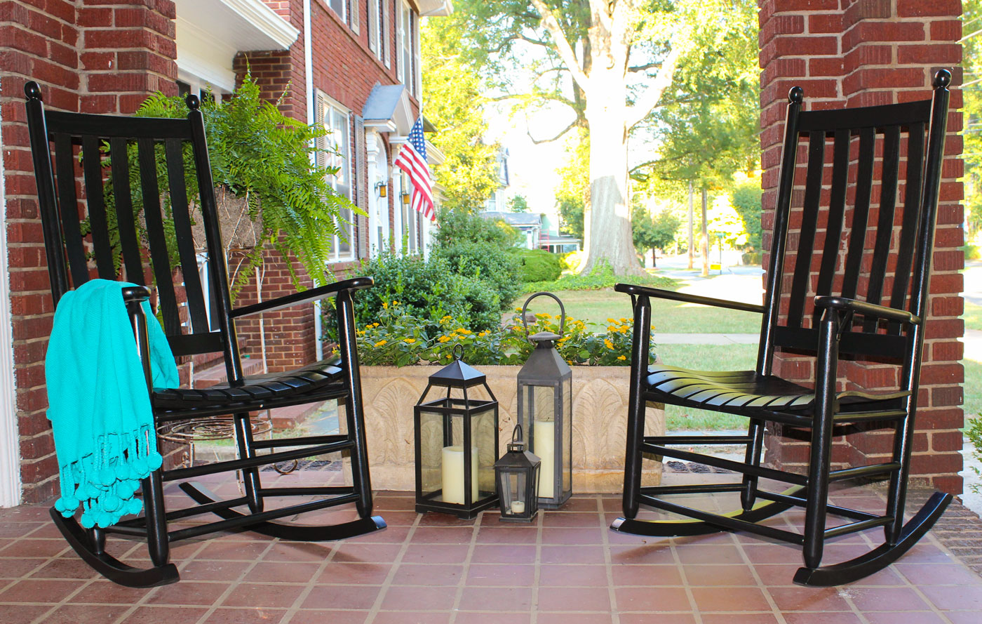 black rocking chairs on porch - Troutman Chairs